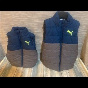Two PUMA puffwr vests size 3-4 and 7-8